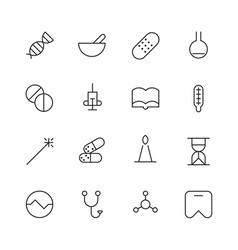 Thin Line Icons For Medical vector