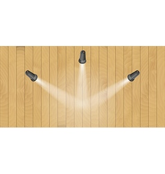 Three lights and wooden wall vector