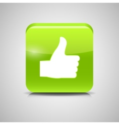 Thumbs up glass button vector