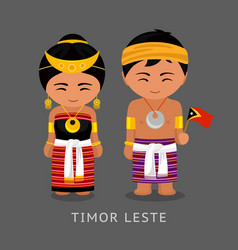Travel to timor leste people in national dress vector