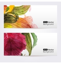 Two floral watercolor banners with iris flowers vector