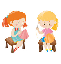 Two girl sewing handkerchief vector