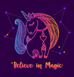 Unicorn drawing with quote vector