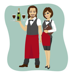 Waiter and waitress holding a serving tray vector