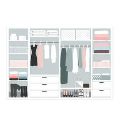 Wardrobe storage system in a modern style vector