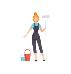 woman painter with roller female construction vector image
