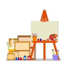 workshop room with easel and tools for art design vector image