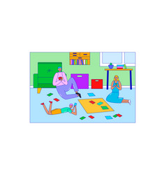 Young family play board game on floor character vector