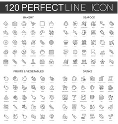120 modern thin line icons set of bakery seafood vector image