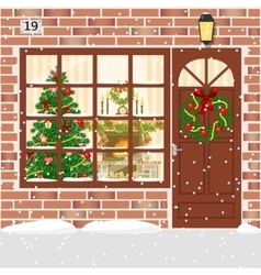 Christmas decorated door house entrance with vector image