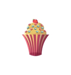 Cute Cupcake With Strawberry vector image