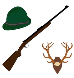 Deer horns rifle and hat vector image vector image