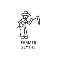 farmer with scythe line icon outline sign linear vector image vector image