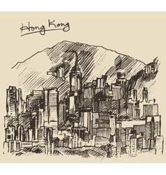 Hong Kong big city architecture hand drawn sketch vector image vector image