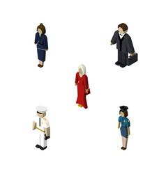 Isometric human set of businesswoman female vector