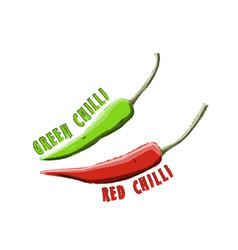 logo icon design red chilli and green chilli farm vector image
