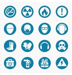 Occupational health icons and safety signs vector image vector image