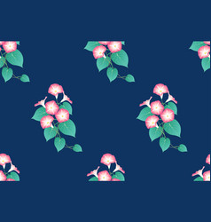 pink morning glory seamless on indigo blue vector image