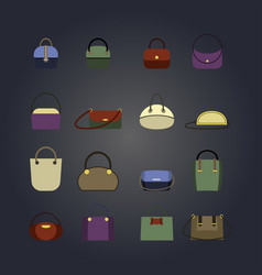 set of colored womens bags in the style of flat vector image