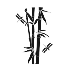 Bamboo icon in black style isolated on white vector image