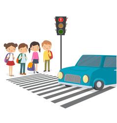 children wait for a green traffic light signal vector image