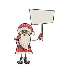 color crayon stripe cartoon of funny santa claus vector image vector image
