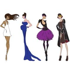 Four fashion girl vector image