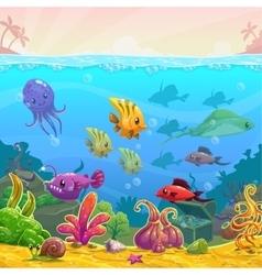 Funny cartoon underwater vector image