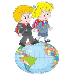 Schoolchildren going on a globe vector image vector image