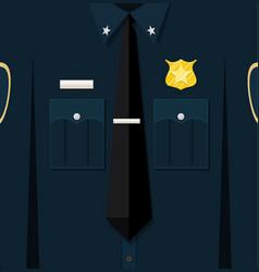 Folded blue policeman uniform with badge vector