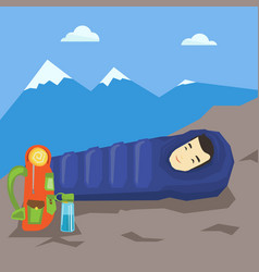 man sleeping in sleeping bag in the mountains vector image vector image