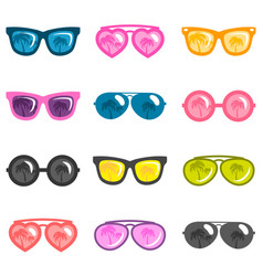 Set of colorful sunglasses isolated on white vector