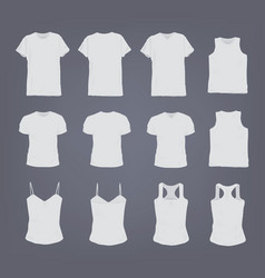 set of different realistic white female and male t vector image