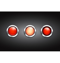Set of three blank red buttons vector image
