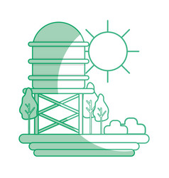 silhouette water tank with trees and sun vector image