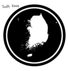 white map of south korea on black vector image