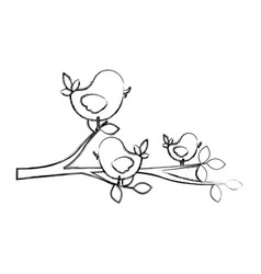 figure birds in the branches trees icon vector image