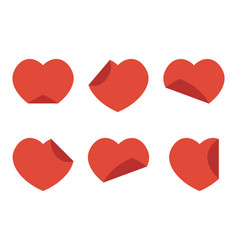 set collection of flat design red hearts stickers vector image vector image