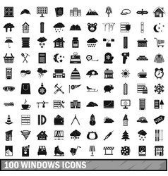 100 windows icons set simple style vector