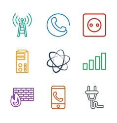 9 connection icons vector image