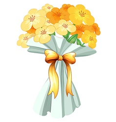 A boquet of flowers with a ribbon vector