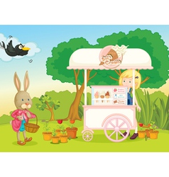 A girl and a cart stall vector