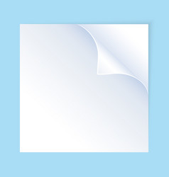 a white sheet of paper with curled corner vector image