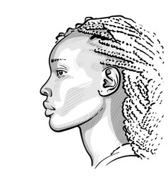 african woman with dreadlocks digital sketch hand vector image