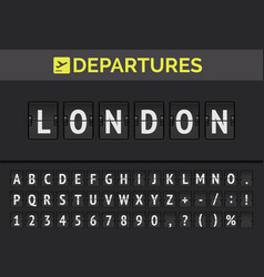 Airport flip board font showing flight departure vector