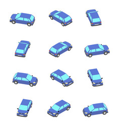 Animation rotation car in isometric vector