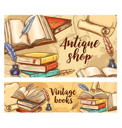 Antique books banners vintage bookshop vector
