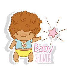 Baby boy with curly hair and star vector