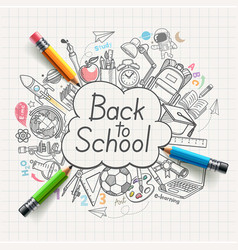 back to school concept doodles vector image