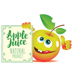 Banner for apple juice with a cute character apple vector